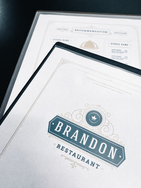 Cafe heat sealed menu with menu design samples