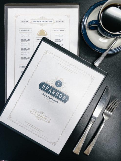Cafe heat sealed menu