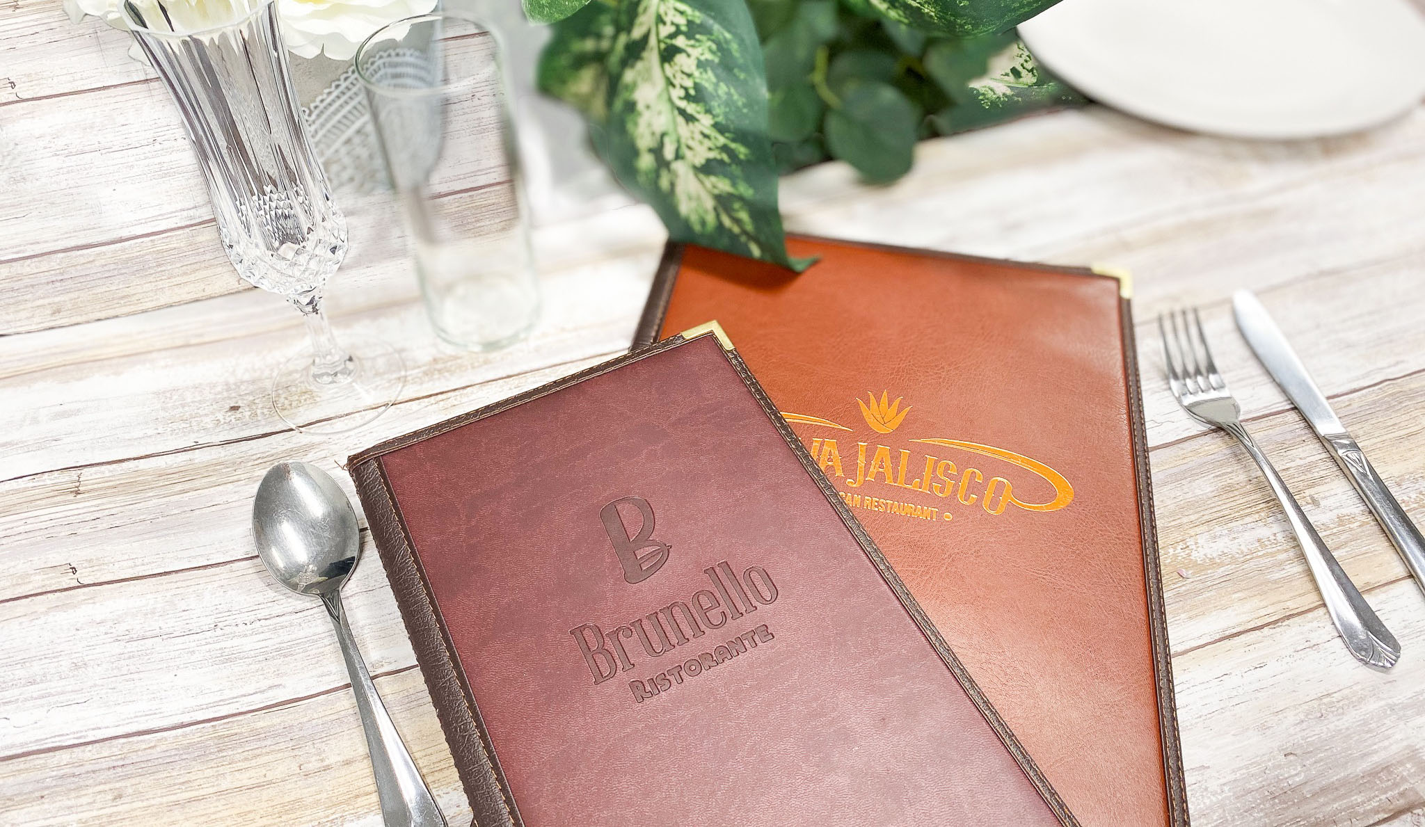stitched menu covers with logos