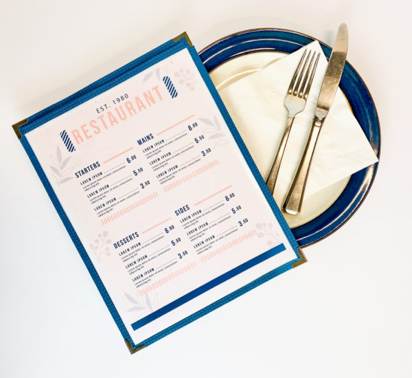 Stitch menu sleeves with blue sawn edge