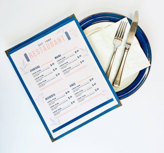 Stitch menu sleeves with blue sawn edge