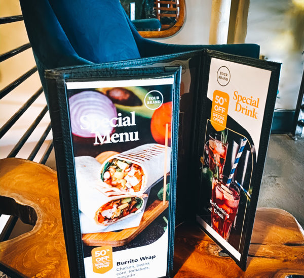 Stitched menu covers with design inserts