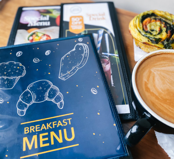 Stitched hard covers with cover design for breakfast menu