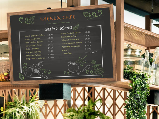 Large format menu board for coffee shop