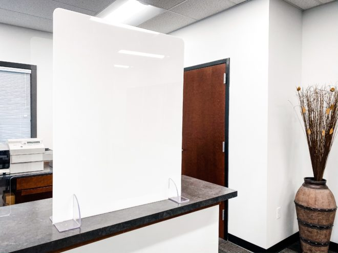 White sneeze guard for office