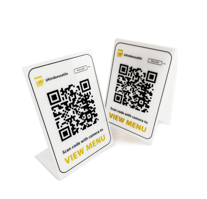 Acrylic QR code table tents