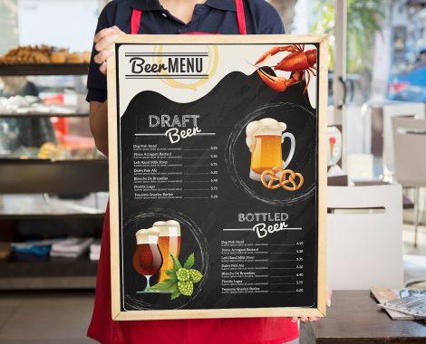 Menu board large format for bar